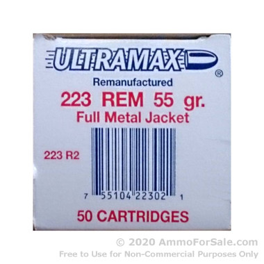 50 Rounds of Remanufactured 55gr FMJ .223 Ammo by Ultramax