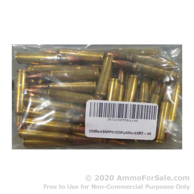 40 Rounds of Remanufactured 55gr Pre-Fragmented .223 Ammo by Dynamic Research Technologies