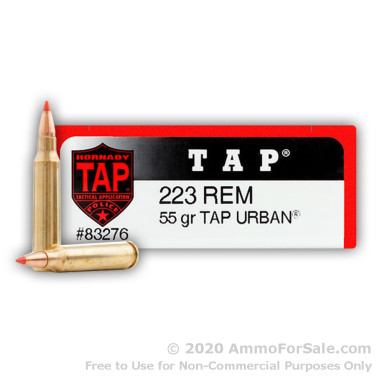 200 Rounds of 55gr TAP FPD .223 Ammo by Hornady