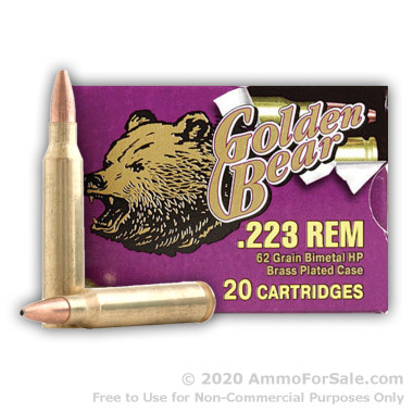 500  Rounds of 62gr HP .223 Ammo by Golden Bear
