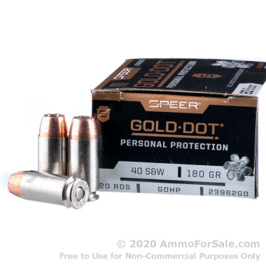 20 Rounds of 180gr JHP .40 S&W Ammo by Speer