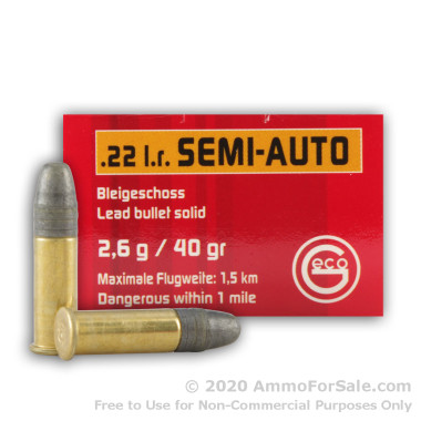 50 Rounds of 40gr LRN .22 LR Ammo by GECO