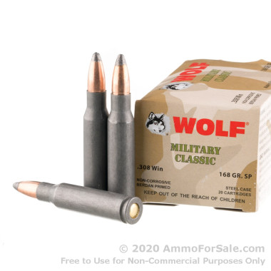 500 Rounds of 168gr SP .308 Win Ammo by Wolf