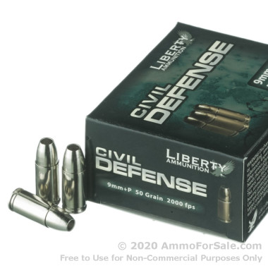20 Rounds of 50gr SCHP 9mm + P Ammo by Liberty Civil Defense Ammunition