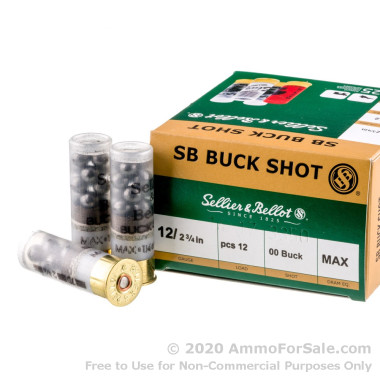 250 Rounds of 1 1/4 ounce 00 Buck 12ga Ammo by Sellier & Bellot
