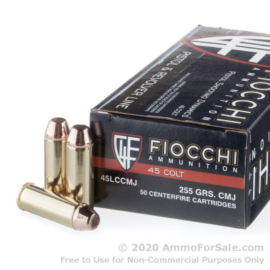 50 Rounds of 255gr CMJ .45 Long-Colt Ammo by Fiocchi