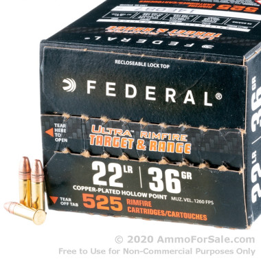 525 Rounds of 36gr CPHP 22 LR Ammo by Federal
