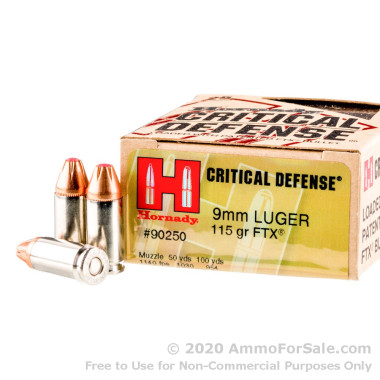 250 Rounds of 115gr JHP 9mm Ammo by Hornady