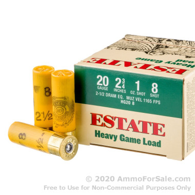250 Rounds of 1 ounce #8 shot 20ga Ammo by Estate Cartridge Heavy Game Load