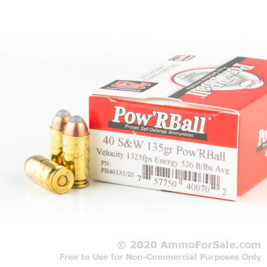 20 Rounds of 135gr PowR Ball .40 S&W Ammo by Glaser
