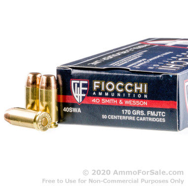 50 Rounds of 170gr FMJ .40 S&W Ammo by Fiocchi