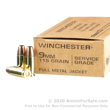 500 Rounds of 140gr FMJ 9mm Ammo by Winchester