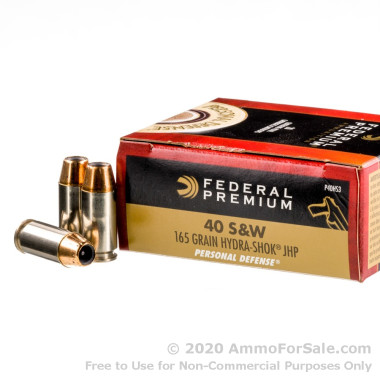 20 Rounds of 165gr JHP .40 S&W Ammo by Federal