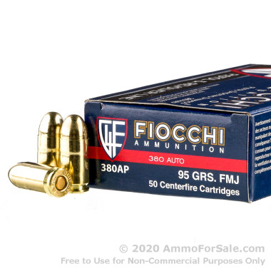 50 Rounds of 95gr FMJ .380 ACP Ammo by Fiocchi