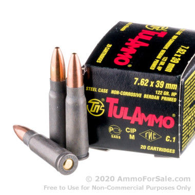 20 Rounds of 122gr HP 7.62x39mm Ammo by Tula