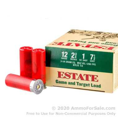 25 Rounds of 1 ounce #7 1/2 shot 12ga Ammo by Estate Cartridge