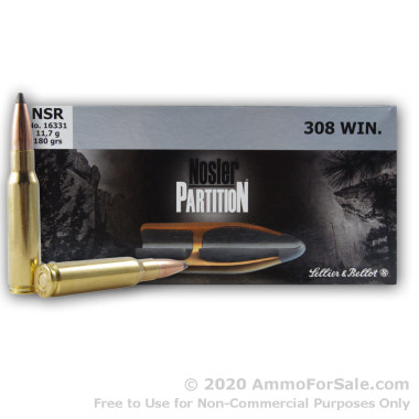 20 Rounds of 180gr Partition .308 Win Ammo by Sellier & Bellot