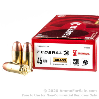 1000 Rounds of 230gr FMJFN .45 ACP Ammo by Federal