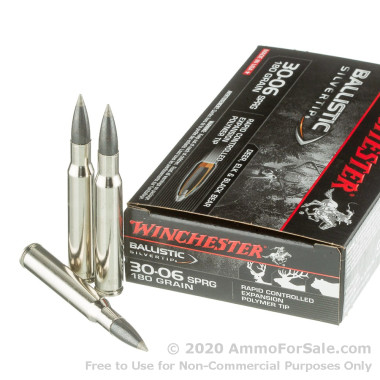 20 Rounds of 180gr Polymer Tipped 30-06 Springfield Ammo by Winchester Ballistic Silvertip