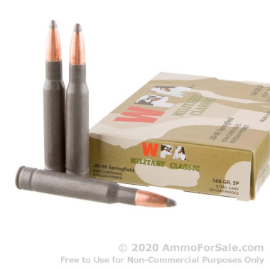 20 Rounds of 168gr SP 30-06 Springfield Ammo by Wolf Military Classic