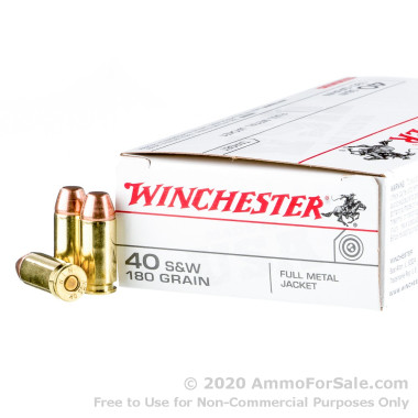 50 Rounds of 180gr FMJ .40 S&W Ammo by Winchester