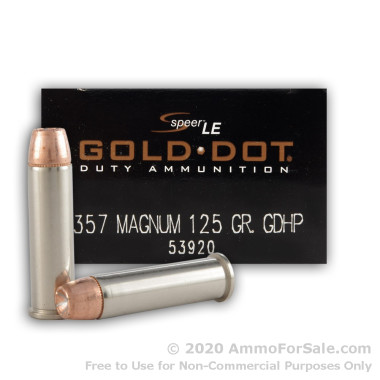 1000 Rounds of 125gr JHP .357 Mag Ammo by Speer