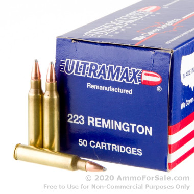 50 Rounds of 55gr SP .223 Ammo by Ultramax Remanufactured