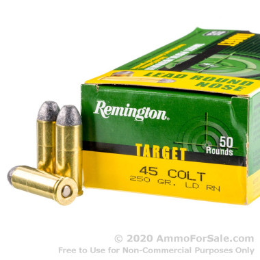 50 Rounds of 250gr LRN .45 Long-Colt Ammo by Remington