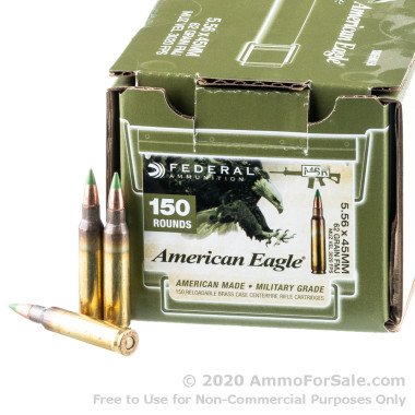 150 Rounds of 62gr FMJ 5.56x45 Ammo by Federal