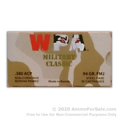 1000 Rounds of 94gr FMJ .380 ACP Ammo by Wolf