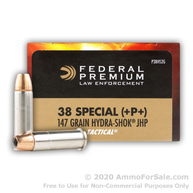 50 Rounds of 147gr JHP .38 Spl +P+ Ammo by Federal