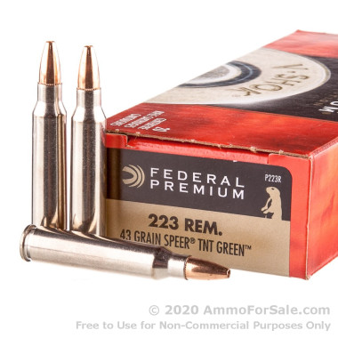 200 Rounds of 43 Grain Speer TNT Green HP .223 Ammo by Federal V-Shok