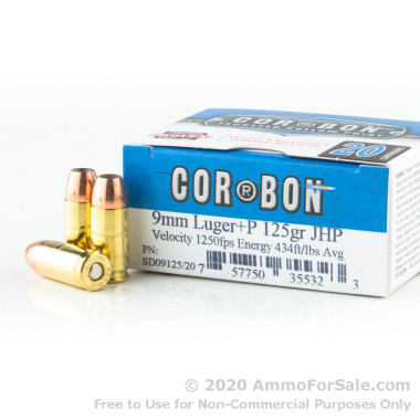 500  Rounds of 125gr JHP 9mm + P Ammo by Corbon