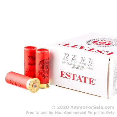 """250 Rounds of 2-3/4"""" 1-1/8 ounce #7-1/2 shot 12ga Ammo by Estate Cartridge"""