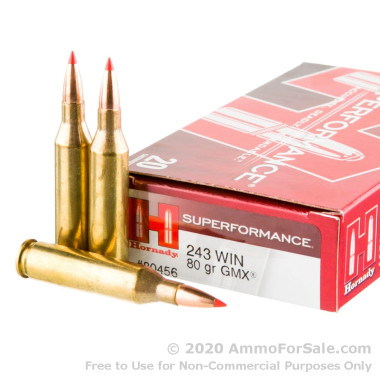 20 Rounds of 80gr GMX .243 Win Ammo by Hornady Superformance