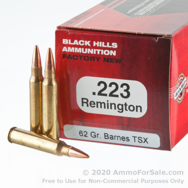 50 Rounds of 62gr TSX .223 Ammo by Black Hills Ammunition
