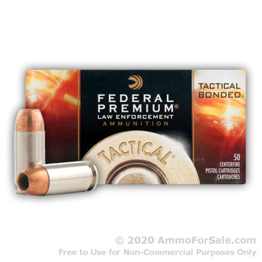 50 Rounds of 180gr JHP .40 S&W Ammo by Federal Tactical Bonded