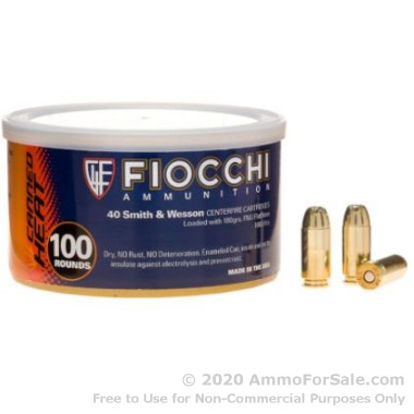 100 Rounds of 180gr FMJ .40 S&W Ammo by Fiocchi Canned Heat