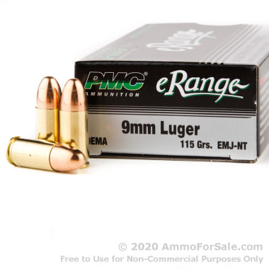50 Rounds of 115gr EMJ 9mm Ammo by PMC