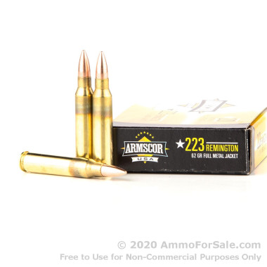 1000 Rounds of 62gr FMJBT .223 Ammo by Armscor