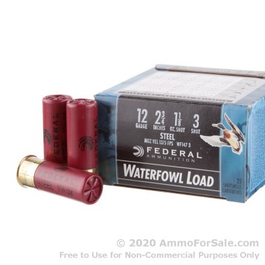 """25 Rounds of 2-3/4"""" 1 1/8 ounce #3 shot 12ga Ammo by Federal Speed-Shok"""