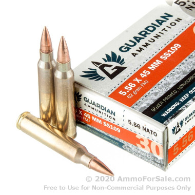 30 Rounds of 62gr FMJ 5.56x45 Ammo by ZQI Ammunition