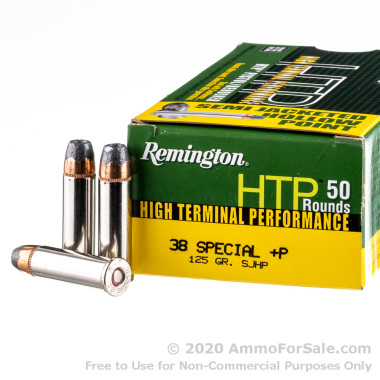 50 Rounds of 125gr SJHP .38 Spl +P Ammo by Remington