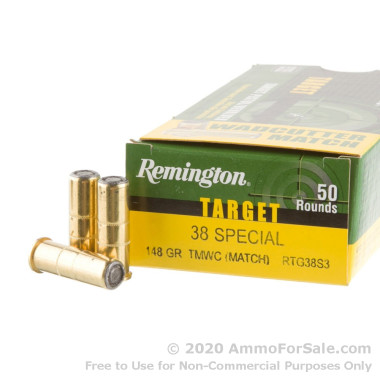 50 Rounds of 148gr Lead Wadcutter .38 Spl Ammo by Remington