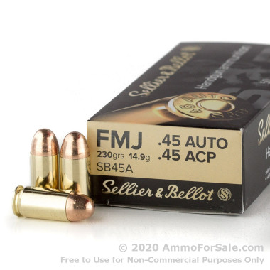 50 Rounds of 230gr FMJ .45 ACP Ammo by Sellier & Bellot