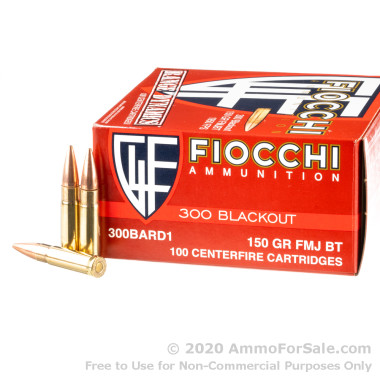 100 Rounds of 150gr FMJBT 300 AAC Blackout Ammo by Fiocchi