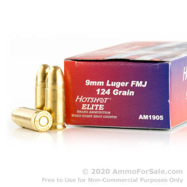 50 Rounds of 124gr FMJ 9mm Ammo by Century Int Arms