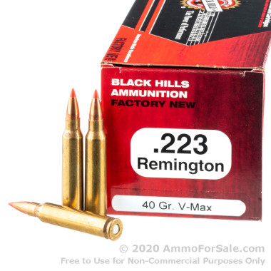50 Rounds of 40gr V-MAX .223 Ammo by Black Hills Ammunition
