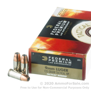 50 Rounds of +P 135gr HP 9mm Ammo by Federal LE Tactical Bonded
