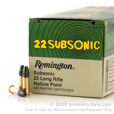 500 Rounds of 38gr LHP .22 LR Ammo by Remington